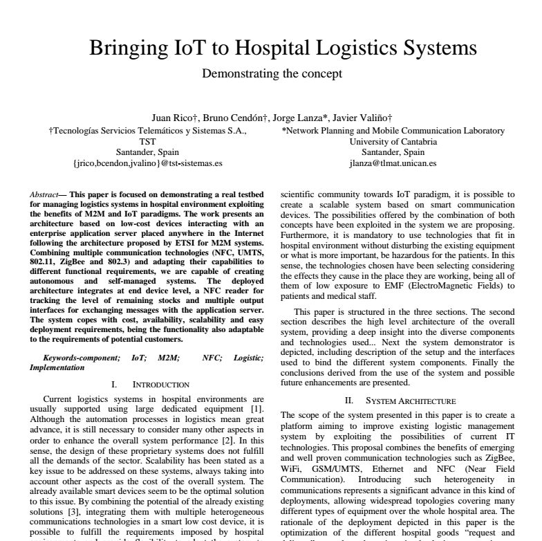 Paper - Bringing IoT to Hospital Logistics Systems - Demonstrating the concept