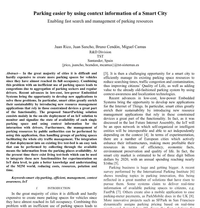 Paper - Parking Easier by Using Context Information of a Smart City