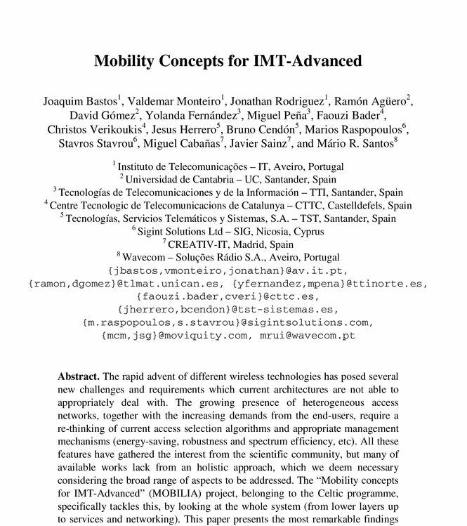Paper - Mobility Concepts for IMT-Advanced