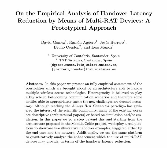 Paper - On the Empirical Analysis of Handover Latency Reduction