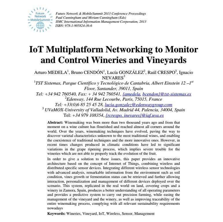 Paper - IoT multiplatform networking to monitor and control wineries and vineyards