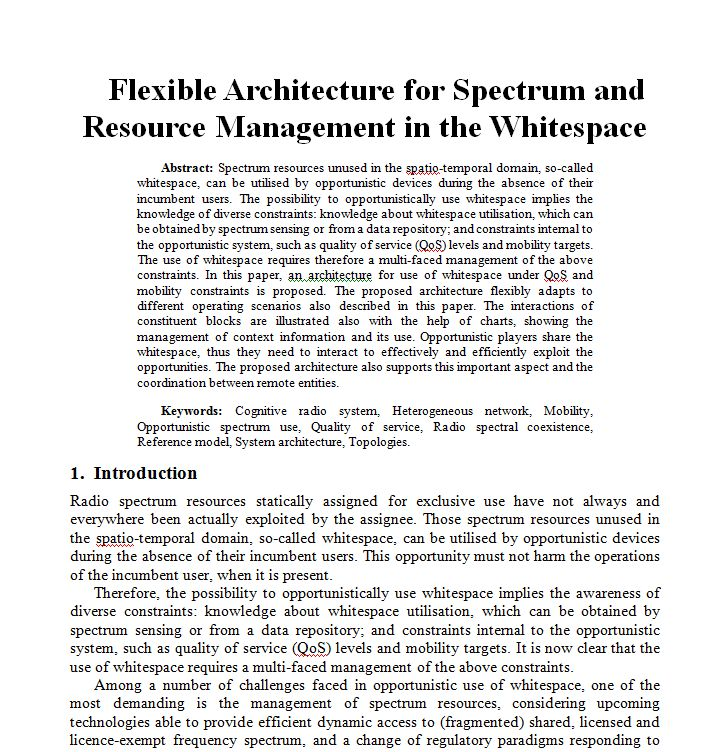 Paper - Flexible architecture for spectrum and resource management in the whitespace