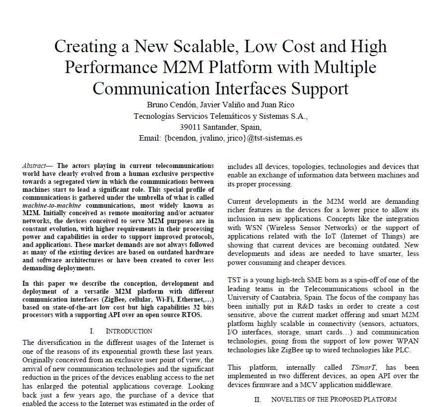 Paper - Creating a New Scalable, Low Cost and High Performance M2M Platform