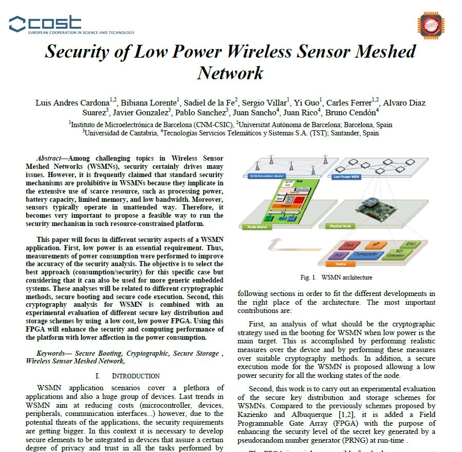 Paper - Security of Low Power Wireless Sensor Meshed Network